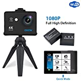 EKEN W9s Action Camera Full HD WiFi Sport Camera impermeabile con Video 4K 10fps 1080P 30fps 720P 30fps Foto 12 MP e obiettivo grandangolare 140° Include Kit con 11 supporti di montaggio, 2 Batterie, Nero