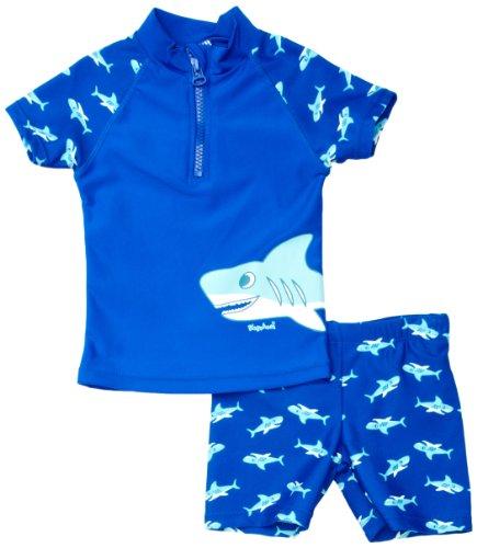 Playshoes Jungen Badeshort 460122 2 TLG. Badeset Hai bestehend aus Badeshirt und Badeshorts, UV-Schutz nach Standard 801 und Oeko-Tex Standard 100, Gr. 98/104, Blau (original)