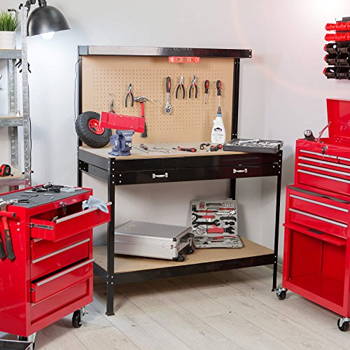tectake tabli d 39 atelier 160 x 60 x 120 cm en bois et acier avec panneau outils et tiroir de. Black Bedroom Furniture Sets. Home Design Ideas