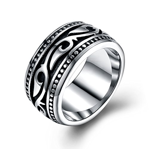 Yellow Chimes Heavy Band Silver Oxidized Finger-Thumb Stainless Steel Ring for Men and Boys