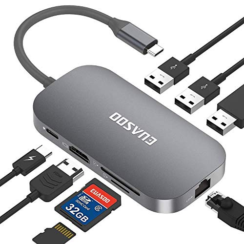 EUASOO Hub USB C, Tipo C 9 Porte con Porta Ethernet, USB C 4K Uscita HDMI, 2 Porte USB 3.0, 1 Porta...