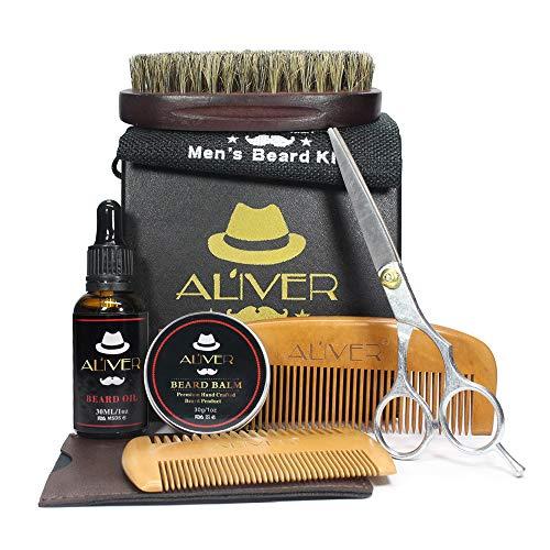 Kit per la cura della barba Beard Maintenance - 30ml Beard Oil + Beard Balm 30g + Barba pettine + Forbici in acciaio inox + Stencil Pettine in confezione regalo Busta ideale per Capodanno