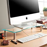 VonHaus Monitor Stand for Desks - Height Adjustable - Screen Riser for Computers, Laptops & TVs - Clear Curved Glass with Aluminium Legs - Designed for Home or Office - 56 x 24cm
