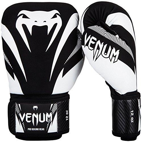 Venum Impact, Guantoni da Boxe, Muay Thai, Kick Boxing, Nero / Bianco, 10oz