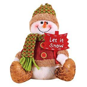 Faviye Muñeca de Navidad Lindo Alce de muñeco de Nieve de Santa Postura de Sentado Suave Muñecas de Trapo para la decoración navideña