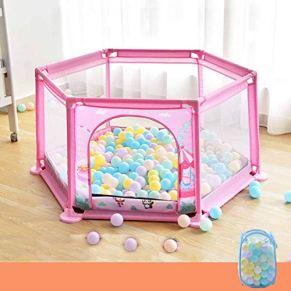 JSFQ Bebé Jugar Cerca de la Cerca Infantil Resistente al rompimiento Interior Juego pequeño Cerca de la Bola Marina Piscina de Juguete (Color : Pink)