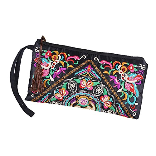 TOOGOO(R) Nueva cartera de las mujeres de Bordado Bolso del embrague de telefono movil Monedero - Flor de mariposa