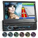 """XOMAX XM-VN745 Autoradio mit Mirrorlink I GPS Navigation I Bluetooth I 7"""" / 18 cm Touchscreen Bildschirm I RDS, USB, AUX I Anschlüsse für Rückfahrkamera und Lenkradfernbedienung I 1 DIN"""