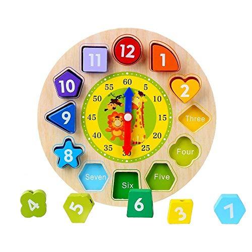 Afunti Orologio Puzzle in Legno - Primi Educazione Puzzle Giocattoli Educativi del Bambino