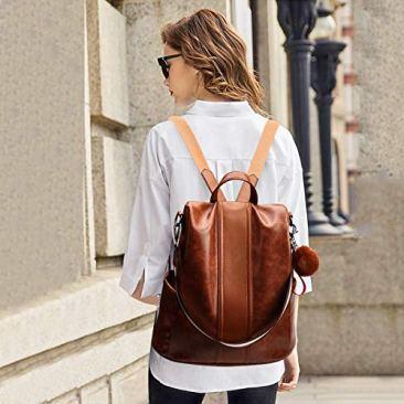Paradox Girl's Water Resistant Vegan Leather Anti-Theft School Shoulder Backpack Bag (Black) 6