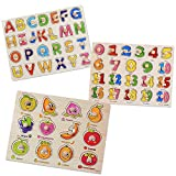 SIMUER Jigsaw de Madera Pegged Puzzle Board Números de Colores Letras del Alfabeto Fruit Puzzle Kids Jigsaw Juguetes educativos 3 Pack