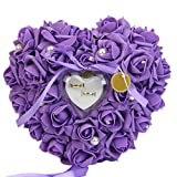 Gemini   Mall® rosa romantico matrimonio anello cuscino anello box cuore favori wedding Ring Pillow con elegante satin flora, Purple, taglia unica