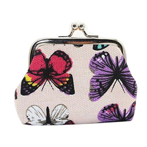 Rawdah Mariposa para mujer pequeño cartera titular de la tarjeta monedero monedero bolso de embrague (Blanco)