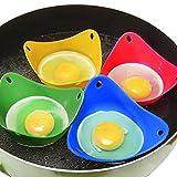 Portauovo 4pezzi resistente al calore, stampi in silicone a forma di cucchiaio per cucinare il perfetto uovo in camicia by Millya