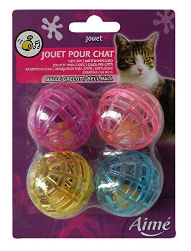 katzeninfo24.de Aime Katzenspielzeug Ball mit Klingel, 4 Stück