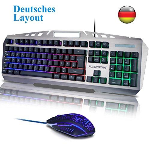 Gaming Tastatur mit Maus, QWERTZ Beleuchtete Tastatur und Maus Set 105 Tasten PC Tastatur mit 6 Farben LED Multimedia Hintergrundbeleuchtung USB Tastature für PC Laptop Computer Deutsch Layout MEHRWEG
