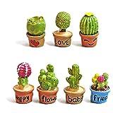 YiGo 7pcs Mini Figura de Resina Cactus en Maceta Plantas Estatua en Miniatura del Paisaje de Accesorios Bonsai Ornamento