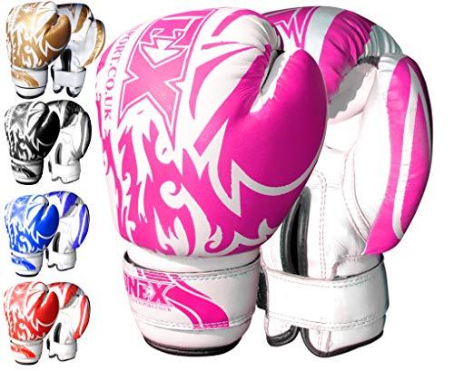 Onex 6 oz- Guanti da Boxe, MMA, Thai Boxe, Arti Marziali Junior-Sacco da Boxe Imbottiti (Pink)