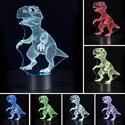 Galaxer Ilusión 3D Luz Nocturna Dinosaurio Lámpara 7 Colores Control Táctil 3 Baterías AA o USB con Buena Imagen de Dinosaurio Panel Acrílico Base ABS para Decoración de la Noche de Mesa