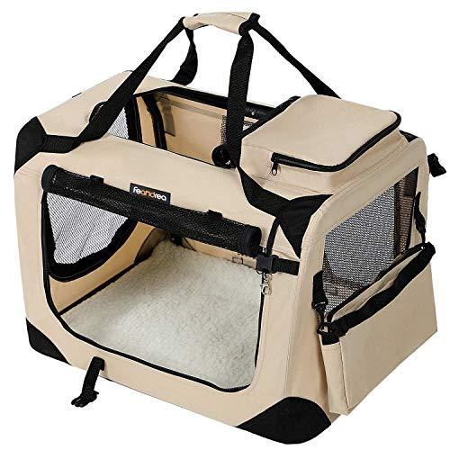 FEANDREA Bolsa de Transporte para Mascotas Transportín Plegable para Perro Portador Tela Oxford Beige (70 x 52 x 52 cm)
