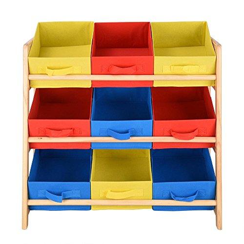 HM-XF Organizer per Giocattoli per Bambini Scaffale per Bambini a 3 Livelli Organizzatore per Rack...