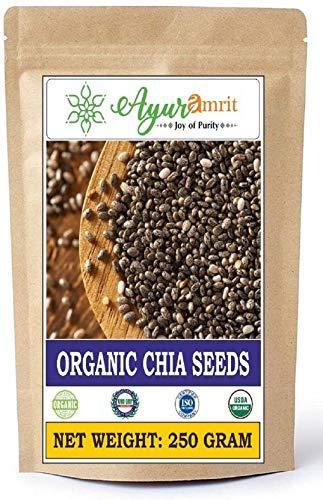 Ayuramrit Organic USA Imported Premium Raw and Organic Chia Seeds 250 Grm