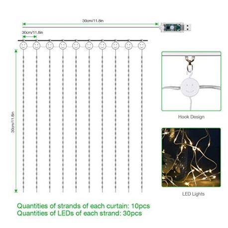 IDESION-Guirlandes-Lumineuse-300LED-3m3m-avec-Crochet-IP65-tanche-8-Modes-dclairage-Rideaux-Lumire-avec-Tlcommande-pour-Dcoration-Intrieur-Extrieur-Chambre-Mariage-Nol-Soire-Blanc-Chaud