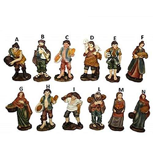 Aurora Store.it Set 12 Statue Presepe Economiche Adatto a Chi realizza Presepi di Natale Napoletano Statuine Pastori in Resina Personaggi Mestieri Figure Diverse 9cm