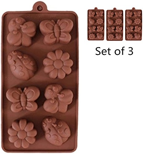 Set of 3 capa de pastel Mold, 8 c chocolate Mold, el enrejado de chocolate Mold Handmade DIY Soap Mold (Bee mariposa flores)