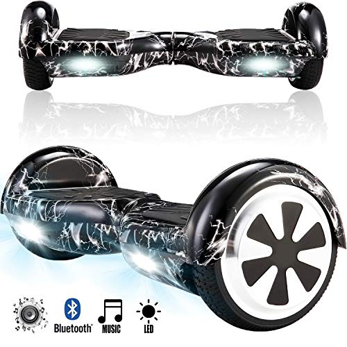 Magic Vida Skateboard Électrique Bluetooth 6.5 Pouces Noir de Foudre Puissance 700W avec LED Gyropode Musique Auto-Équilibrage pour Enfants et Adultes Gyropode 2 Roues