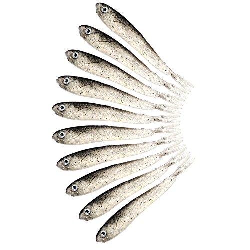Dragonaur - Esche in silicone, a forma di pesce, con occhi tridimensionali, per pesca richiamo, morbido, 10 pezzi