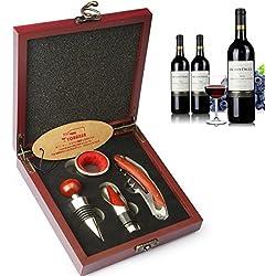 YOBANSA Scatola di legno Accessori per il vino Set regalo, Cavatappi per vino, Apribottiglie, Tappo vino e versatore vino