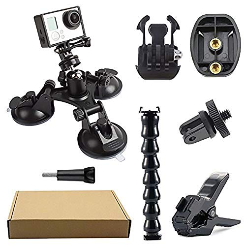Hootracker Triple Suction Cup Mount, Ganasce Mount, Action Camera Accessories Kit, GoPro Hero Session Action Camera Accessories per GoPro Hero 7/ Hero 6/ Hero 5/ Hero 4/ Hero 3