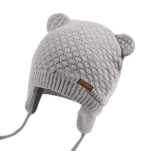 JOYORUN Unisex - Baby Mütze Beanie Strickmütze Unifarbe Wintermütze Grau M