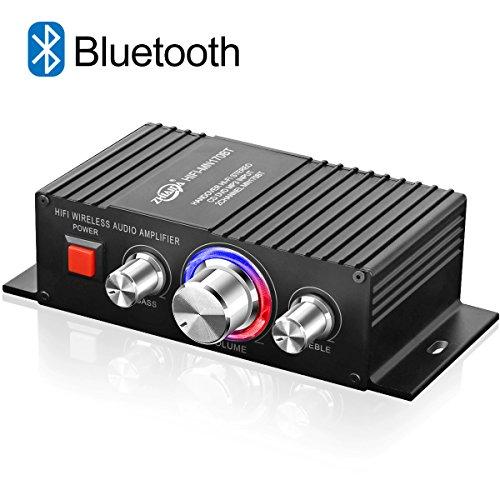 Mini HiFi Verstärker Bluetooth TTMOW 2 x 50W Stereo Audio Amplifier Bass Kanal Audio Endstufe Kleiner Verstaerker für Home und Auto KFZ (DC 12V-24V / 5A-10A Universaladapter, Nicht Enthalten)