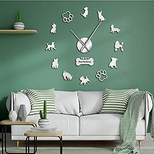English Toy Terrier Poodles Yorkshire Terrier Razze canine miste Wall Art Home Decor Fai da te Orologio da parete gigante Cane Animali domestici Appeso Orologio 37 pollici