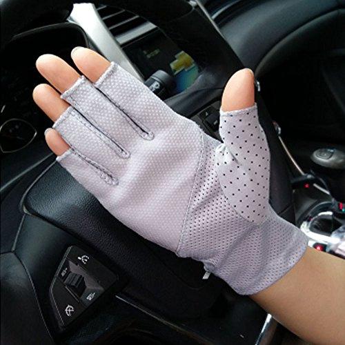 donna anti-skid mezze dita guanti elegante pizzo estate guanti di protezione UV guida guanti senza...