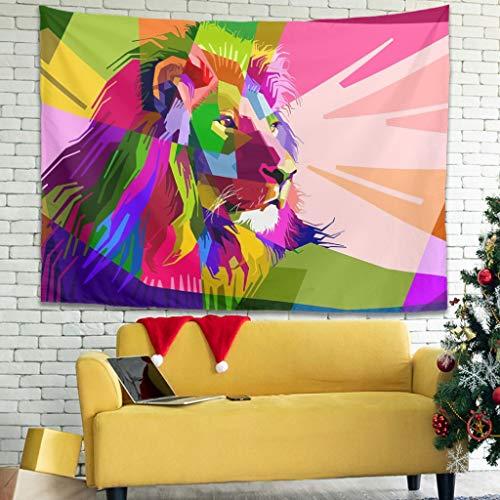 Bed Dorm Decor - Carta da Parati, Motivo: Leone, Multicolore, Poliestere, Bianco, 150x130cm