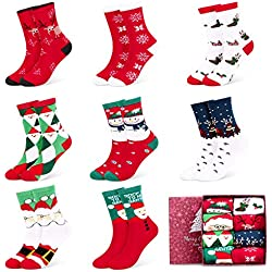 Fixget Calcetines de Navidad, 8 Pares Navidad de invierno Calcetines de Algodón, Calcetines Térmicos de Navidad con Hombre Mujer,el Mejor Regalo de Navidad Para la Familia