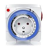 Mechanische Zeitschaltuhr   24 Stunden Anaolg Timer   Steckdosen-Schaltuhr   Zeitprogrammstecker mit 96 Schaltsegmenten   Schieberegler für Zeitangabe   3680W   mit Kinderschutzsicherung   Weiß