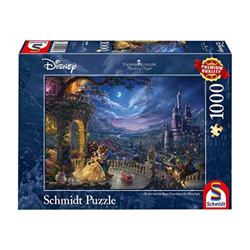 Schmidt Puzzle Disney la Bella e la Bestia-Ballo al Chiaro di Luna di Thomas Kinkade, 1000 Pezzi,...