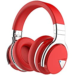 COWIN E7 Auriculares Inalámbricos Bluetooth con Micrófono Hi-Fi Deep Bass Auriculares Inalámbricos Sobre El Oído, Almohadillas de Protección Cómodo, 30 Horas de Tiempo de Juego para Viajes - Negro (Rojo)