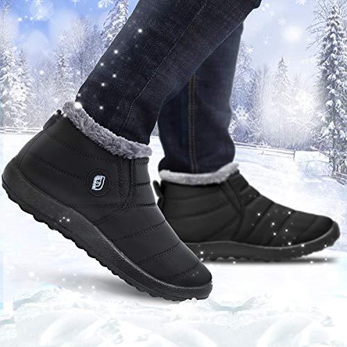 JOINFREE-Damen-Winter-und-Schnee-Flache-Stiefeletten-mit-Oxford-Tuch-Voll-Pelz-Futter-Schwarz-41-EU