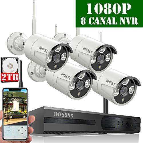 【2019 Nuovo】 Kit Videosorveglianza WiFi Esterno 1080P, Kit Videosorveglianza Telecamera 8 Canali 1080P NVR Di Sorveglianza Wireless Esterno, 4 x 1080P IP67 Impermeabile CCTV Camera, 2TB Disco Rigido