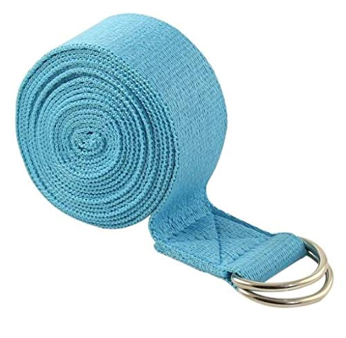 Yoga Strap (6ft, 8ft, 10ft) with Ebook - Durable Cotton Exercise Straps w/Adjustable D-Ring Buckle for Stretching, General Fitness, Flexibility and Physical Therapy (Turquoise Blue, 8ft)
