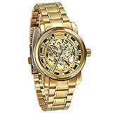 JewelryWe Herren Armbanduhr, Business Casual Skelett mechanische Mechanik Uhr mit Edelstahl Armband, Gold Farben
