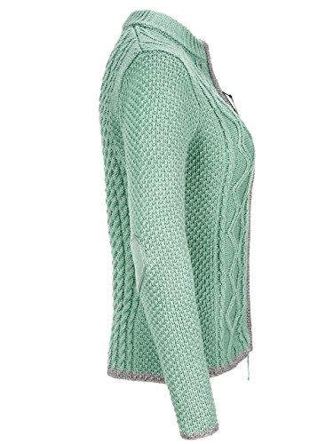 Almbock Strickjacke Reißverschluss Damen | Hochwertige Trachten Strickjacke | Trachtenjacke Damen aus Feiner Wolle in Vielen Farben von Gr. S - XXL (Mintgrün, S) - 3