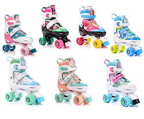 meteor® Retro Rollschuhe: Disco Roller Skate wie in den 80er Jahren, Jugend Rollschuhe, Kinder Quad Skate, 5 Verschiedene Farbvarianten, Einstellbare Größe des Schuhs (S 31-34, Eden)