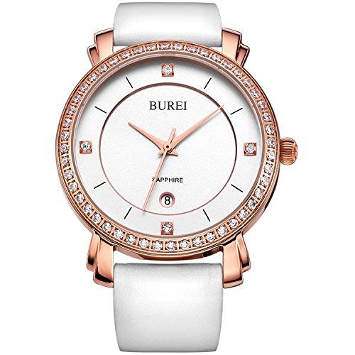 BUREI Damen Uhr Analog Quarz mit Leder Armband Armbanduhr Swarovski Kristalle Rose Gold Lederband weiß