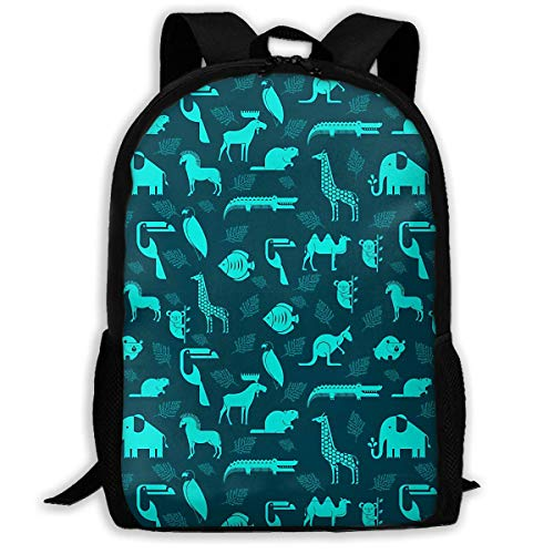 Giraffe Crocodile Zoo Kangaroo Koala Bear Printed School Backpack Water Resistant Travel Rucksack Bag Laptop Lightweight Backpack Daypack,17 Inch